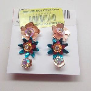 Betsey Johnson New 3 Bright Flower Earrings
